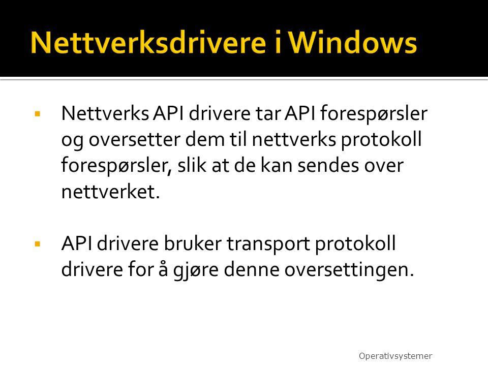  Nettverks API drivere tar API forespørsler og oversetter dem til nettverks protokoll forespørsler, slik at de kan sendes over nettverket.  API driv