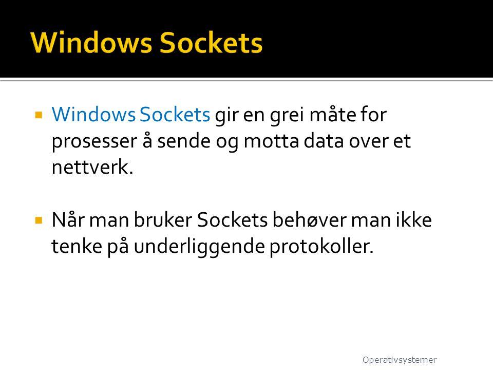  Windows Sockets gir en grei måte for prosesser å sende og motta data over et nettverk.  Når man bruker Sockets behøver man ikke tenke på underligge