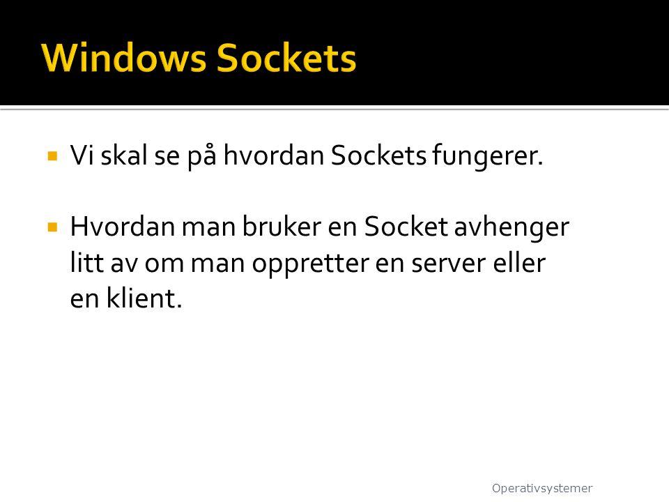  Vi skal se på hvordan Sockets fungerer.  Hvordan man bruker en Socket avhenger litt av om man oppretter en server eller en klient. Operativsystemer