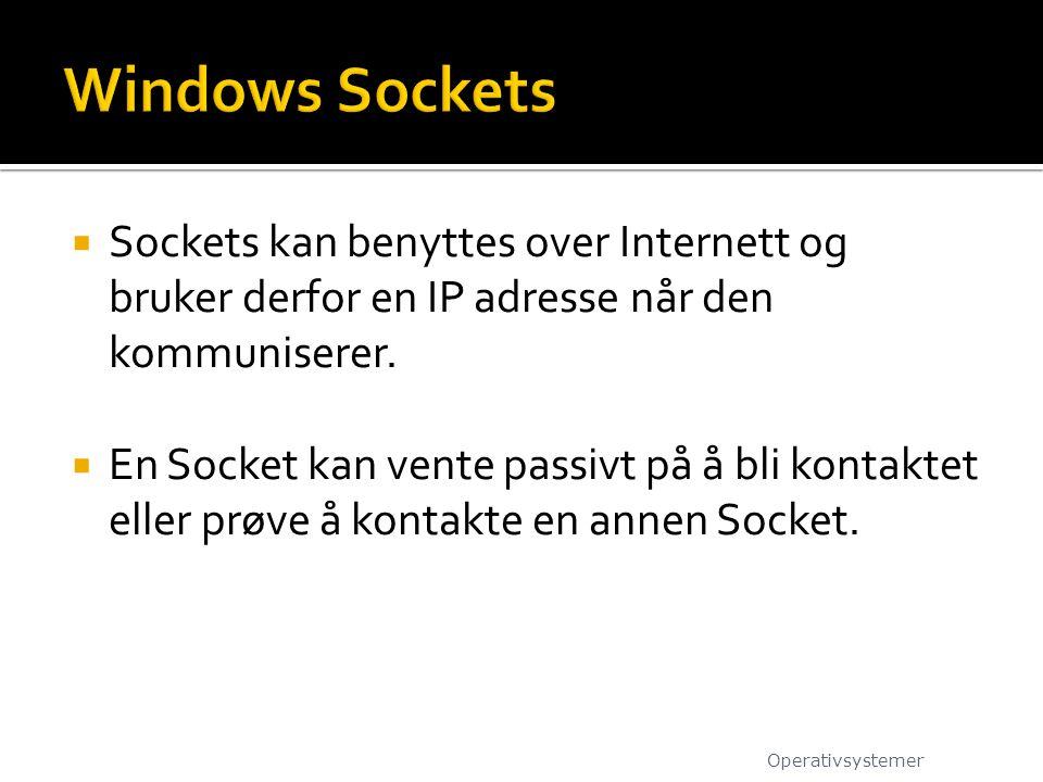  Sockets kan benyttes over Internett og bruker derfor en IP adresse når den kommuniserer.  En Socket kan vente passivt på å bli kontaktet eller prøv
