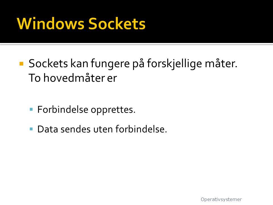  Sockets kan fungere på forskjellige måter. To hovedmåter er  Forbindelse opprettes.  Data sendes uten forbindelse. Operativsystemer