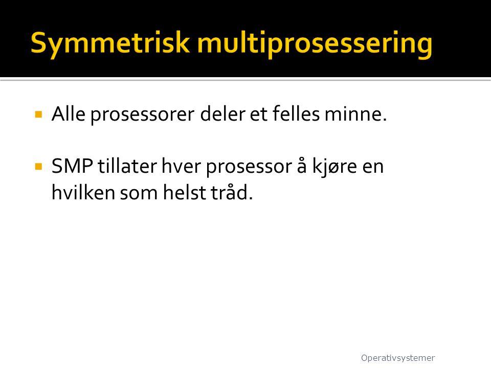  Alle prosessorer deler et felles minne.  SMP tillater hver prosessor å kjøre en hvilken som helst tråd. Operativsystemer