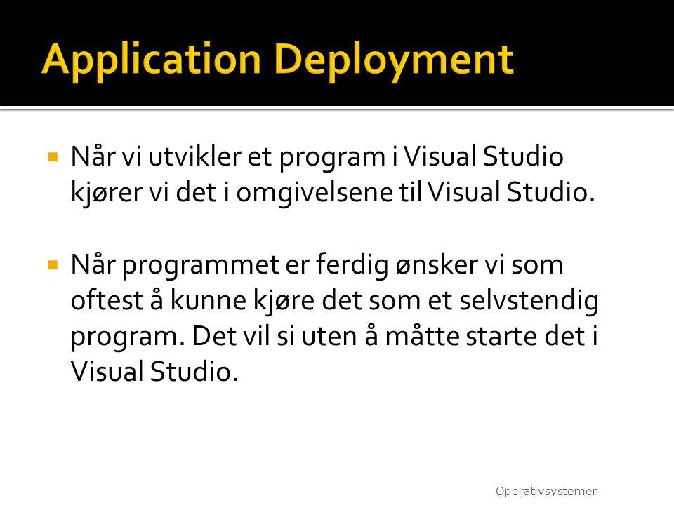  Når vi utvikler et program i Visual Studio kjører vi det i omgivelsene til Visual Studio.  Når programmet er ferdig ønsker vi som oftest å kunne kj