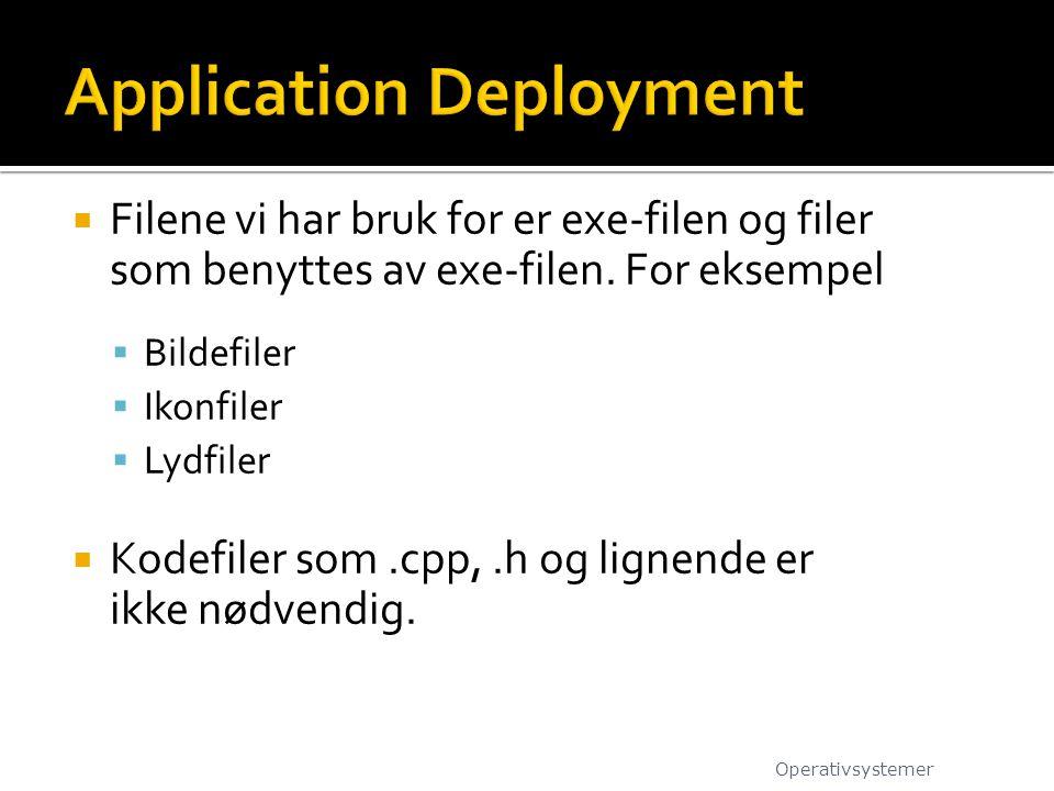  Filene vi har bruk for er exe-filen og filer som benyttes av exe-filen. For eksempel  Bildefiler  Ikonfiler  Lydfiler  Kodefiler som.cpp,.h og l