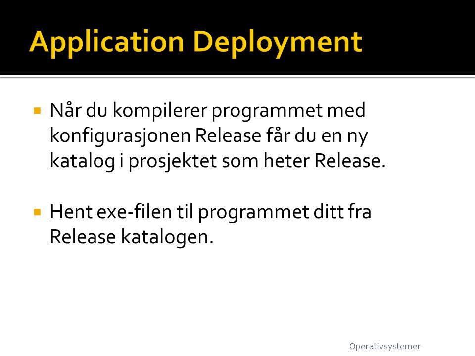  Når du kompilerer programmet med konfigurasjonen Release får du en ny katalog i prosjektet som heter Release.  Hent exe-filen til programmet ditt f