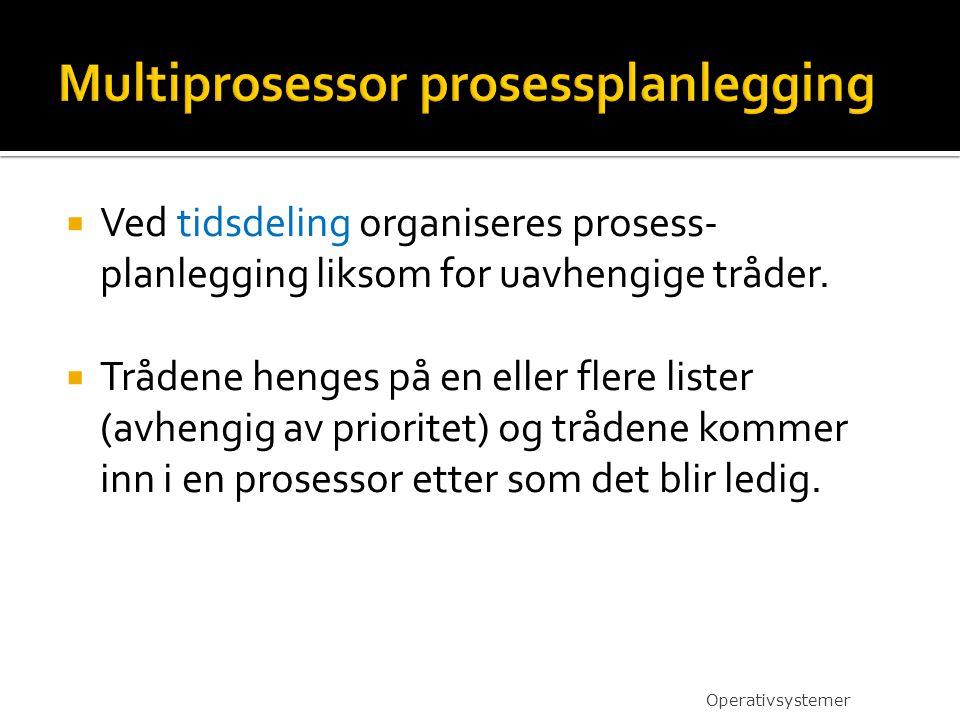  Ved tidsdeling organiseres prosess- planlegging liksom for uavhengige tråder.  Trådene henges på en eller flere lister (avhengig av prioritet) og t