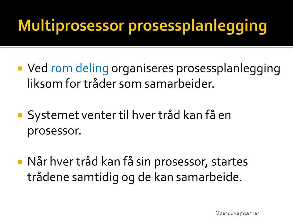  Ved rom deling organiseres prosessplanlegging liksom for tråder som samarbeider.  Systemet venter til hver tråd kan få en prosessor.  Når hver trå