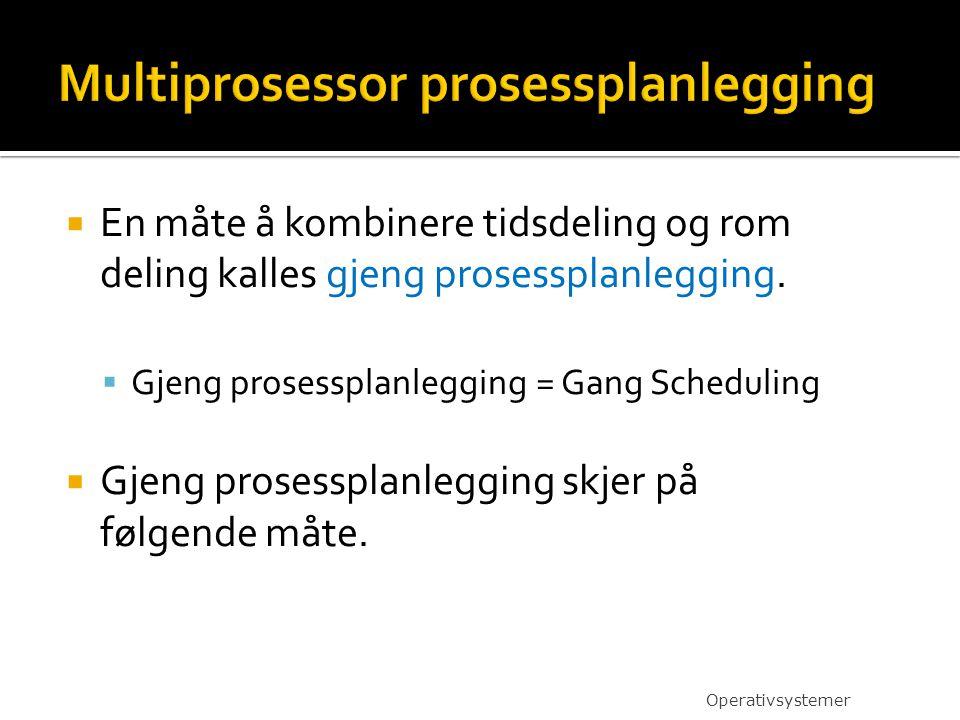  En måte å kombinere tidsdeling og rom deling kalles gjeng prosessplanlegging.  Gjeng prosessplanlegging = Gang Scheduling  Gjeng prosessplanleggin