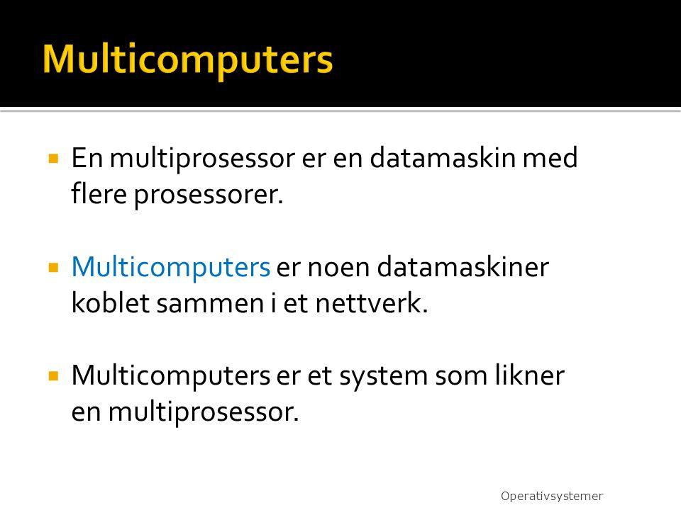  En multiprosessor er en datamaskin med flere prosessorer.  Multicomputers er noen datamaskiner koblet sammen i et nettverk.  Multicomputers er et