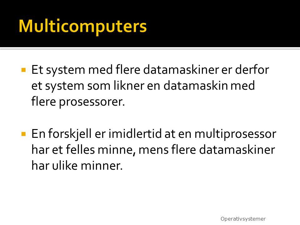  Et system med flere datamaskiner er derfor et system som likner en datamaskin med flere prosessorer.  En forskjell er imidlertid at en multiprosess