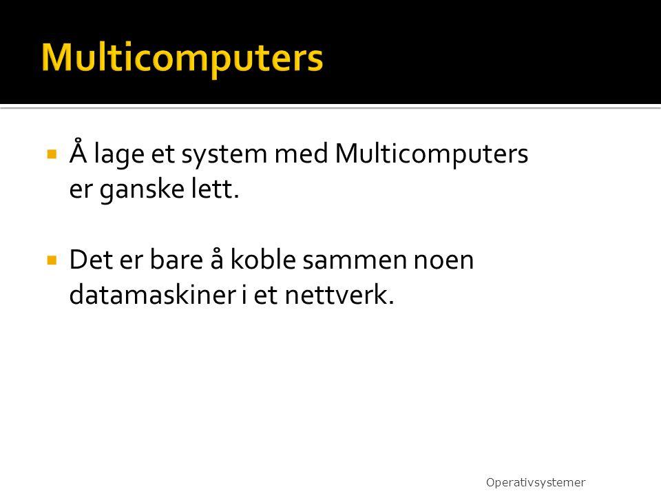  Å lage et system med Multicomputers er ganske lett.  Det er bare å koble sammen noen datamaskiner i et nettverk. Operativsystemer