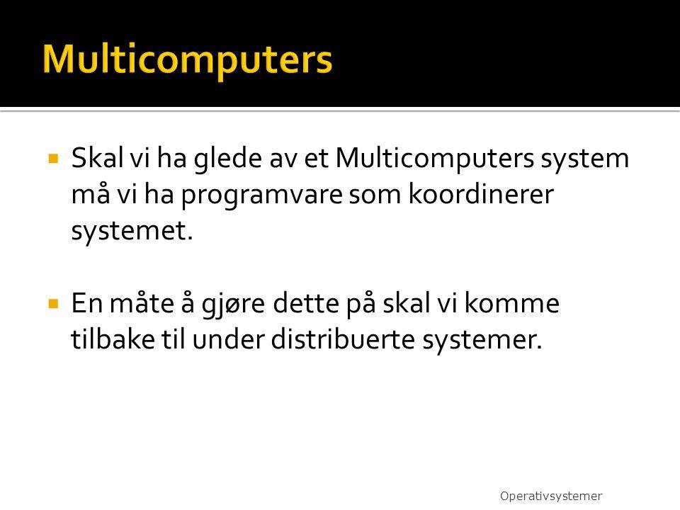  Skal vi ha glede av et Multicomputers system må vi ha programvare som koordinerer systemet.  En måte å gjøre dette på skal vi komme tilbake til und