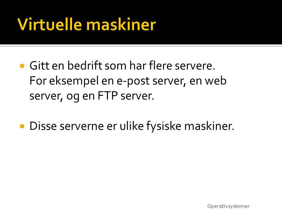  Gitt en bedrift som har flere servere. For eksempel en e-post server, en web server, og en FTP server.  Disse serverne er ulike fysiske maskiner. O