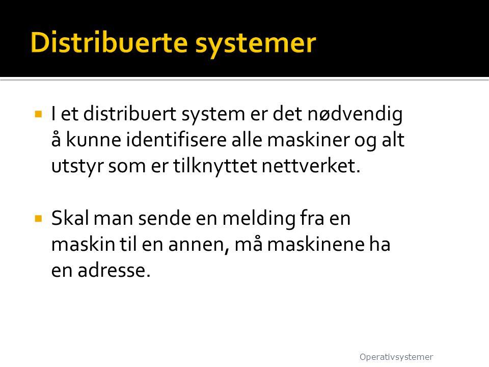  I et distribuert system er det nødvendig å kunne identifisere alle maskiner og alt utstyr som er tilknyttet nettverket.  Skal man sende en melding