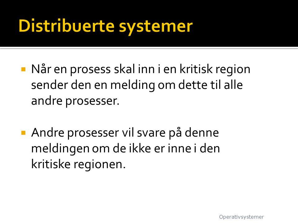  Når en prosess skal inn i en kritisk region sender den en melding om dette til alle andre prosesser.  Andre prosesser vil svare på denne meldingen