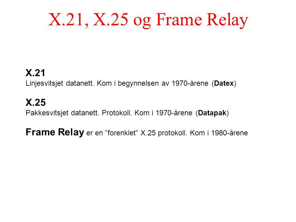 X.21, X.25 og Frame Relay X.21 Linjesvitsjet datanett. Kom i begynnelsen av 1970-årene (Datex) X.25 Pakkesvitsjet datanett. Protokoll. Kom i 1970-åren