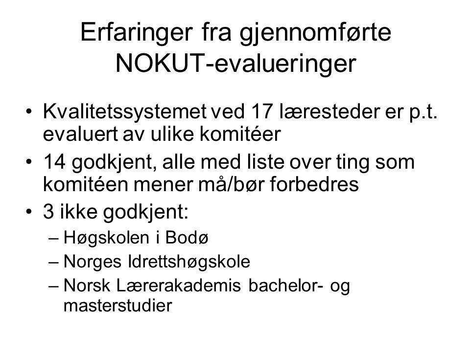 Erfaringer fra gjennomførte NOKUT-evalueringer Kvalitetssystemet ved 17 læresteder er p.t. evaluert av ulike komitéer 14 godkjent, alle med liste over