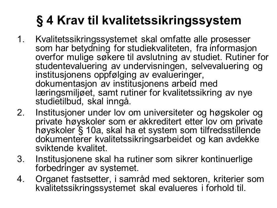 § 4 Krav til kvalitetssikringssystem 1.Kvalitetssikringssystemet skal omfatte alle prosesser som har betydning for studiekvaliteten, fra informasjon o