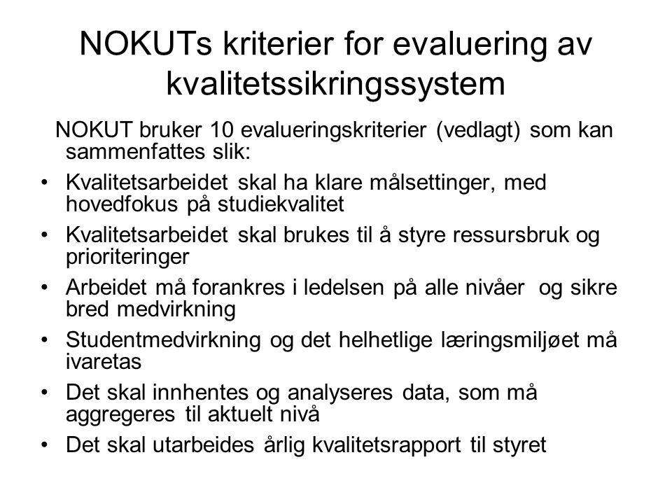 NOKUTs kriterier for evaluering av kvalitetssikringssystem NOKUT bruker 10 evalueringskriterier (vedlagt) som kan sammenfattes slik: Kvalitetsarbeidet