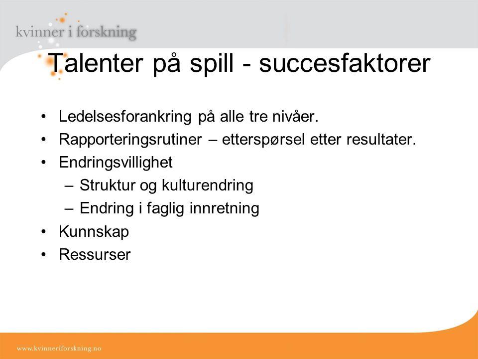 Talenter på spill - succesfaktorer Ledelsesforankring på alle tre nivåer.
