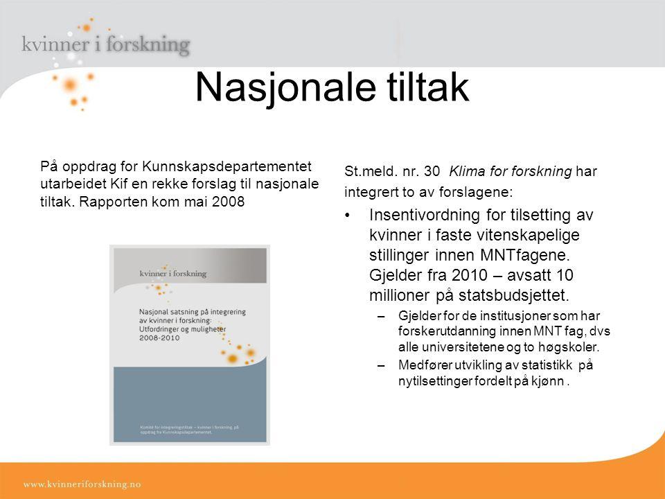 Nasjonale tiltak På oppdrag for Kunnskapsdepartementet utarbeidet Kif en rekke forslag til nasjonale tiltak.