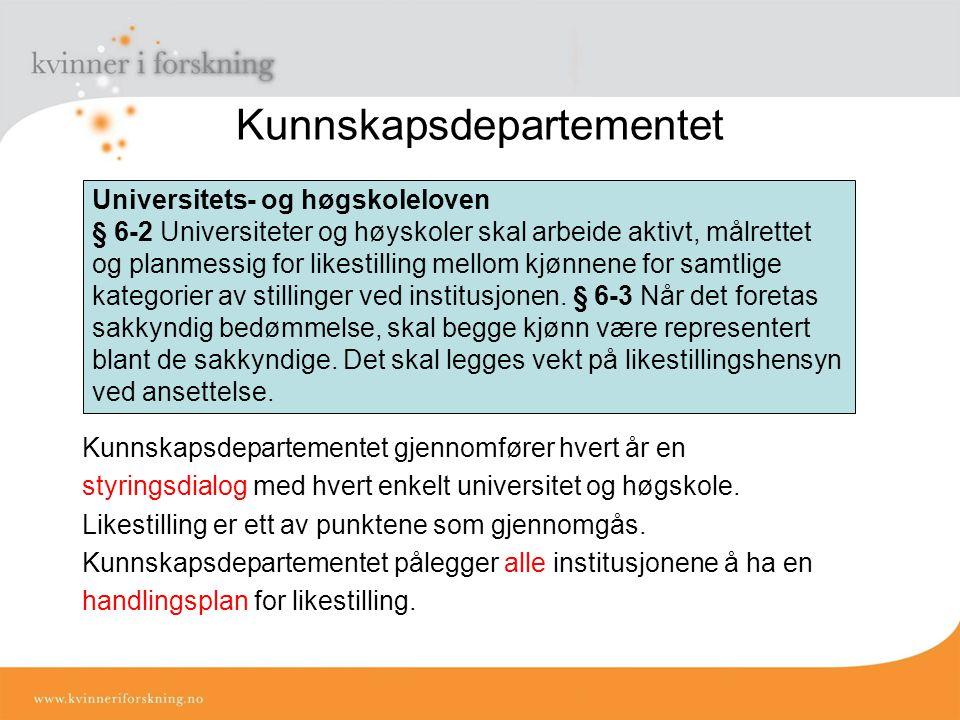 Kunnskapsdepartementet Kunnskapsdepartementet gjennomfører hvert år en styringsdialog med hvert enkelt universitet og høgskole.