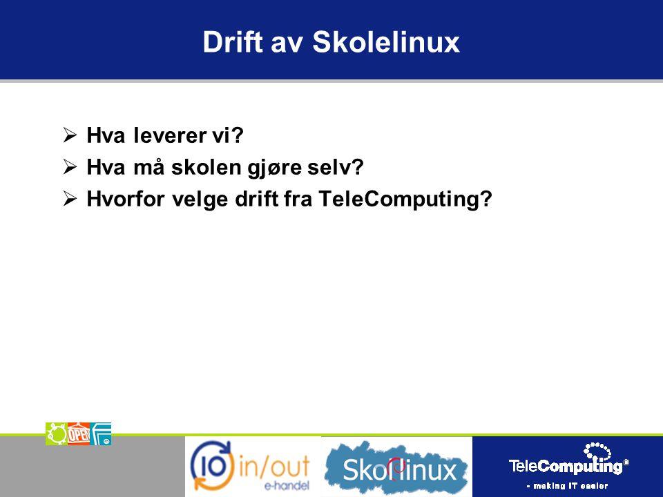 Drift av Skolelinux  Hva leverer vi.  Hva må skolen gjøre selv.