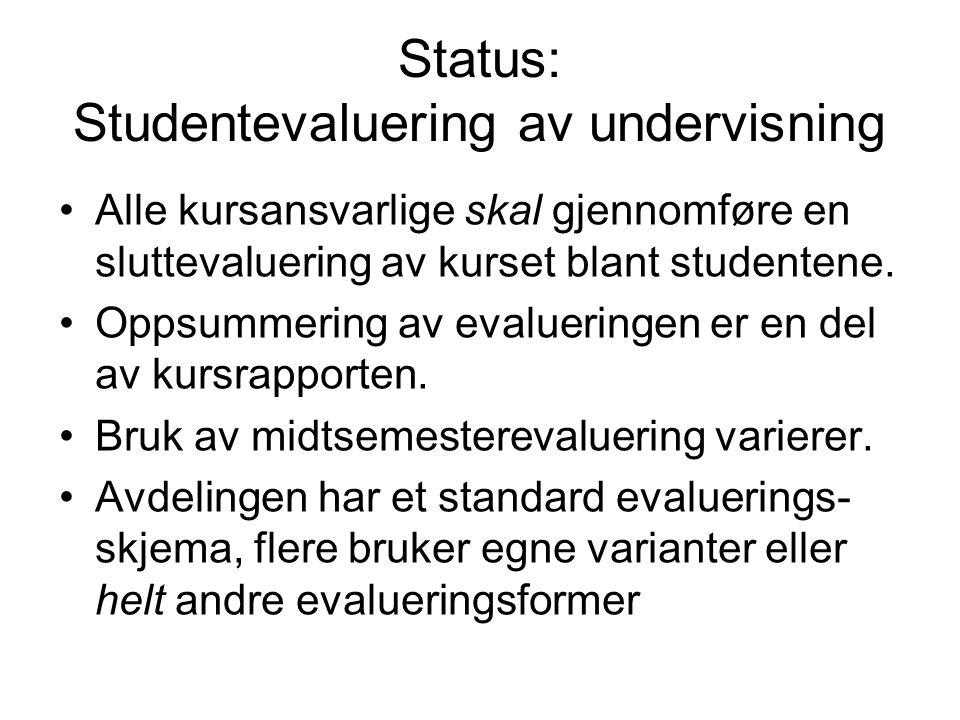 Status: Studentevaluering av undervisning Alle kursansvarlige skal gjennomføre en sluttevaluering av kurset blant studentene.