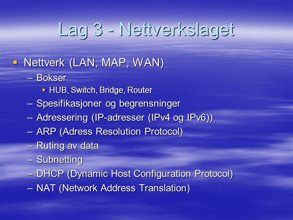Lag 3 - Nettverkslaget  Nettverk (LAN, MAP, WAN) –Bokser  HUB, Switch, Bridge, Router –Spesifikasjoner og begrensninger –Adressering (IP-adresser (IPv4 og IPv6)) –ARP (Adress Resolution Protocol) –Ruting av data –Subnetting –DHCP (Dynamic Host Configuration Protocol) –NAT (Network Address Translation)