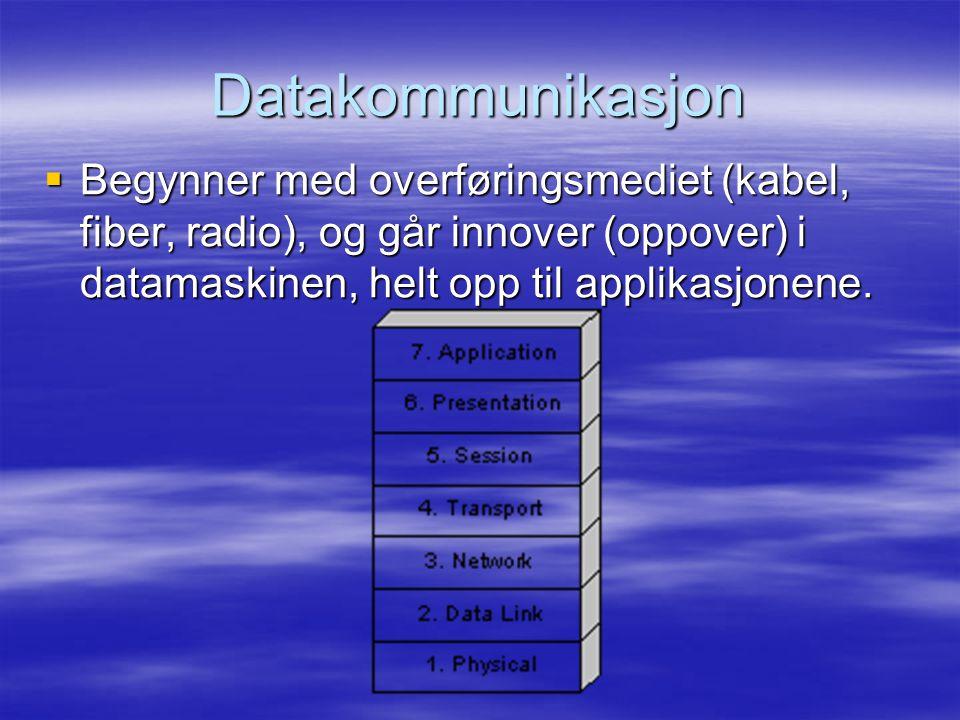 Datakommunikasjon  Begynner med overføringsmediet (kabel, fiber, radio), og går innover (oppover) i datamaskinen, helt opp til applikasjonene.