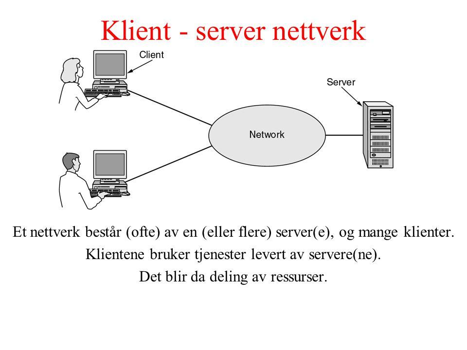 Klient - server nettverk Et nettverk består (ofte) av en (eller flere) server(e), og mange klienter. Klientene bruker tjenester levert av servere(ne).