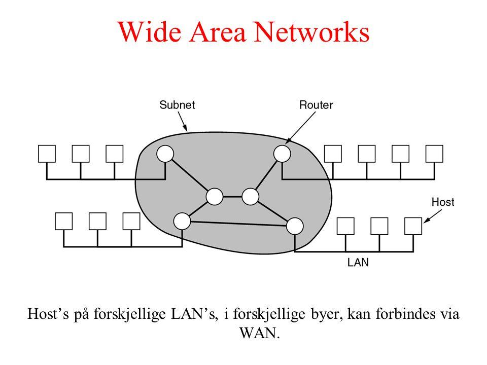 Wide Area Networks Host's på forskjellige LAN's, i forskjellige byer, kan forbindes via WAN.