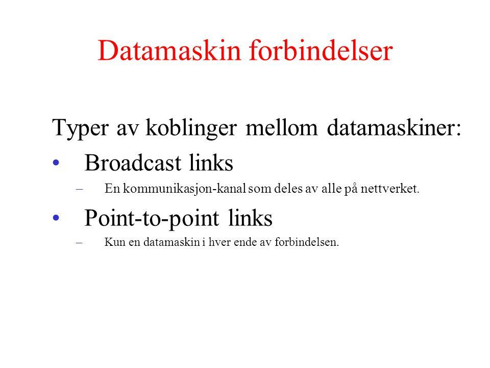 Datamaskin forbindelser Typer av koblinger mellom datamaskiner: Broadcast links –En kommunikasjon-kanal som deles av alle på nettverket. Point-to-poin