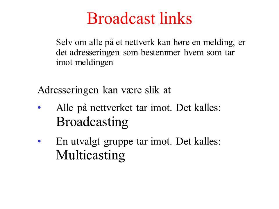 Broadcast links Selv om alle på et nettverk kan høre en melding, er det adresseringen som bestemmer hvem som tar imot meldingen Adresseringen kan være slik at Alle på nettverket tar imot.