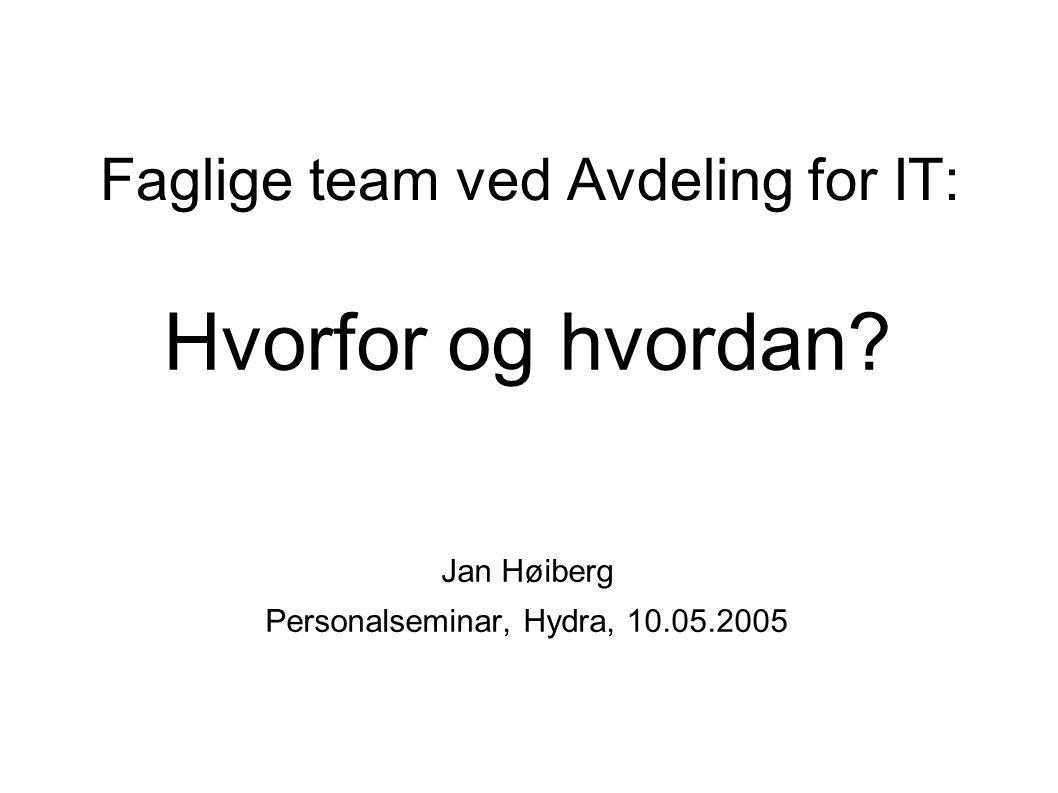 Faglige team ved Avdeling for IT: Hvorfor og hvordan.