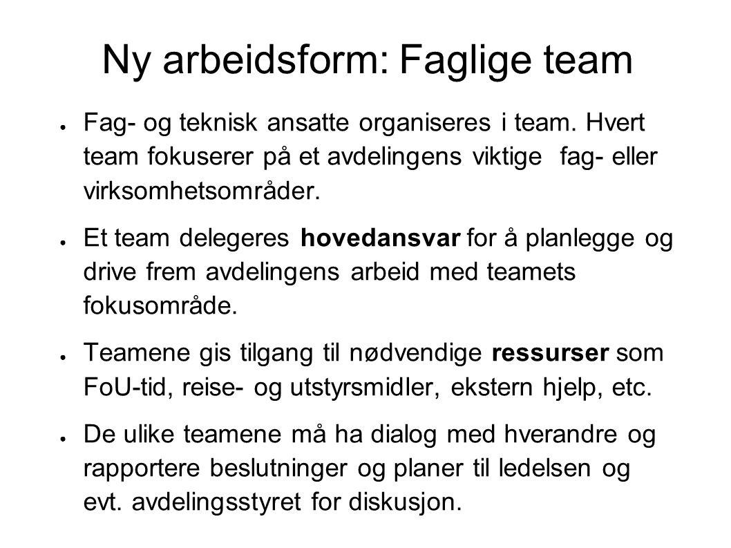 Ny arbeidsform: Faglige team ● Fag- og teknisk ansatte organiseres i team.