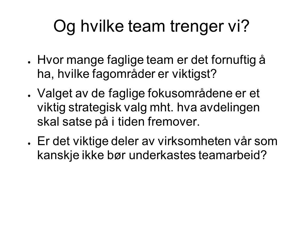 Og hvilke team trenger vi.