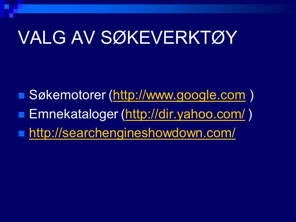 VALG AV SØKEVERKTØY Søkemotorer (http://www.google.com )http://www.google.com Emnekataloger (http://dir.yahoo.com/ )http://dir.yahoo.com/ http://searc