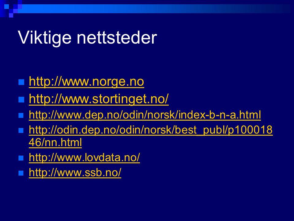 Viktige nettsteder http://www.norge.no http://www.stortinget.no/ http://www.dep.no/odin/norsk/index-b-n-a.html http://odin.dep.no/odin/norsk/best_publ