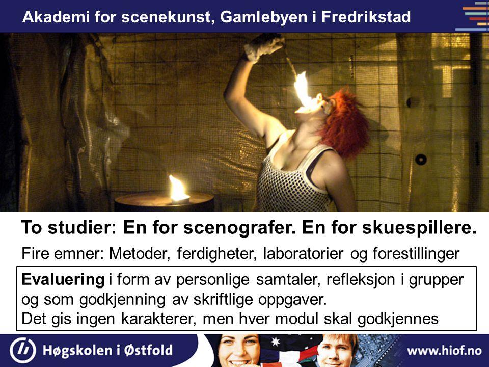 Akademi for scenekunst, Gamlebyen i Fredrikstad Treårig bachelorutdanning i visuelt og fysisk teater To studier: En for scenografer. En for skuespille
