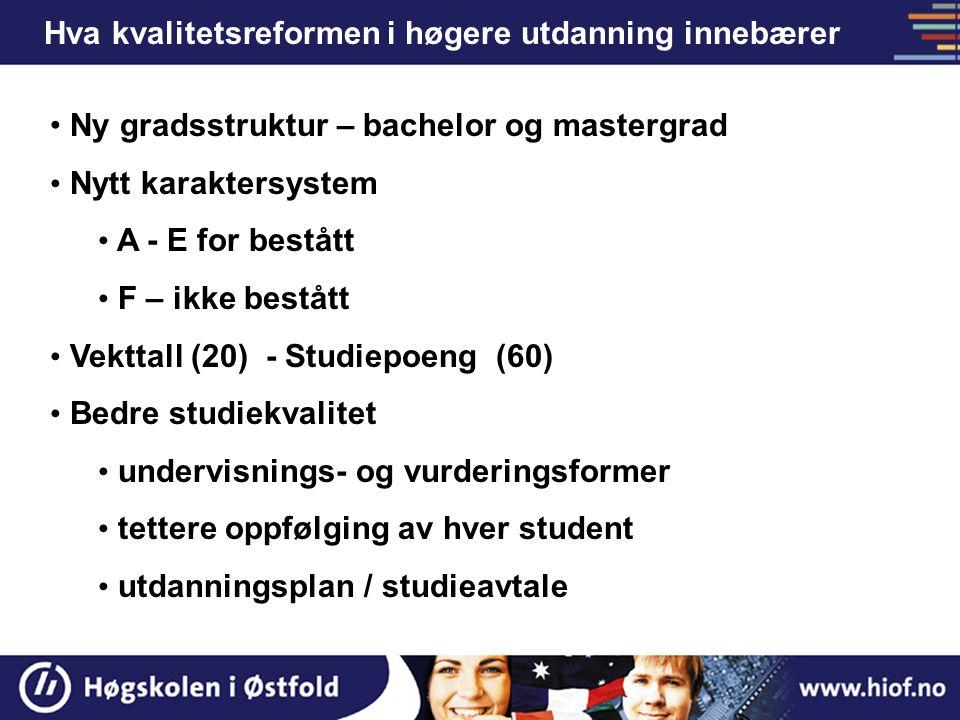 Hva kvalitetsreformen i høgere utdanning innebærer Ny gradsstruktur – bachelor og mastergrad Nytt karaktersystem A - E for bestått F – ikke bestått Ve