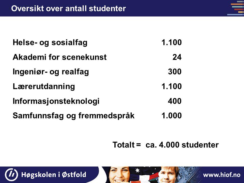 Oversikt over antall studenter Helse- og sosialfag 1.100 Akademi for scenekunst 24 Ingeniør- og realfag 300 Lærerutdanning 1.100 Informasjonsteknologi