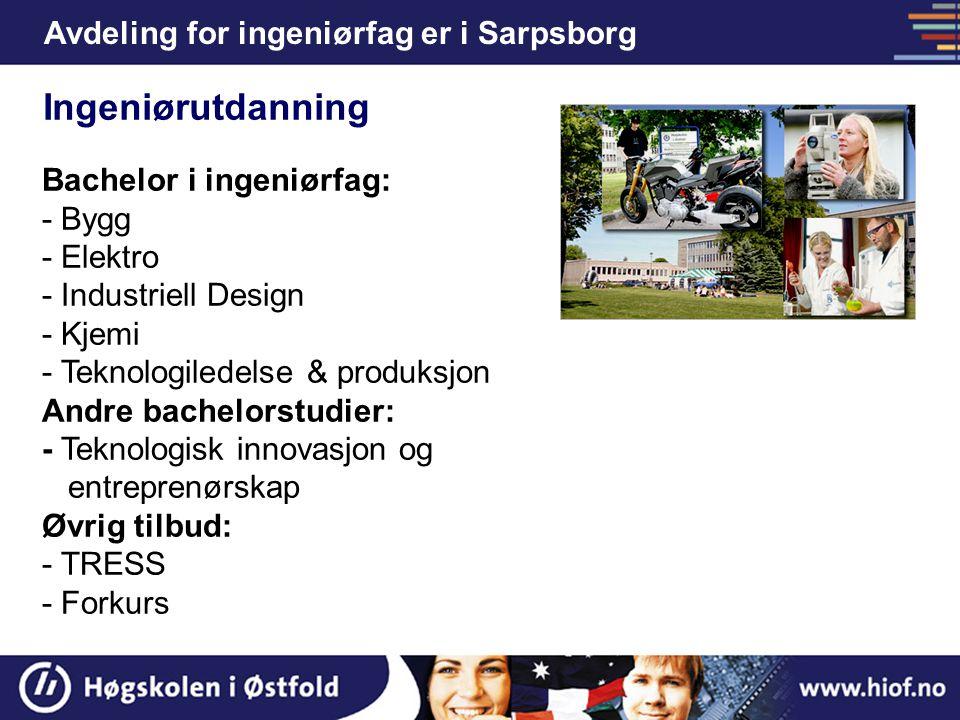 Avdeling for ingeniørfag er i Sarpsborg Bachelor i ingeniørfag: - Bygg - Elektro - Industriell Design - Kjemi - Teknologiledelse & produksjon Andre ba