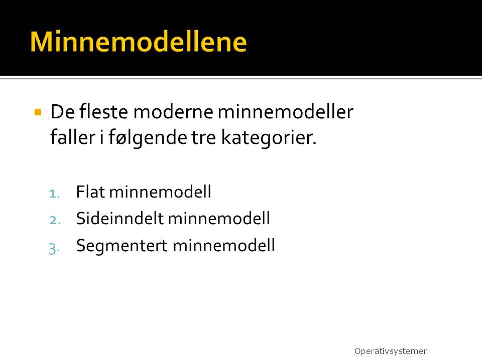  De fleste moderne minnemodeller faller i følgende tre kategorier.