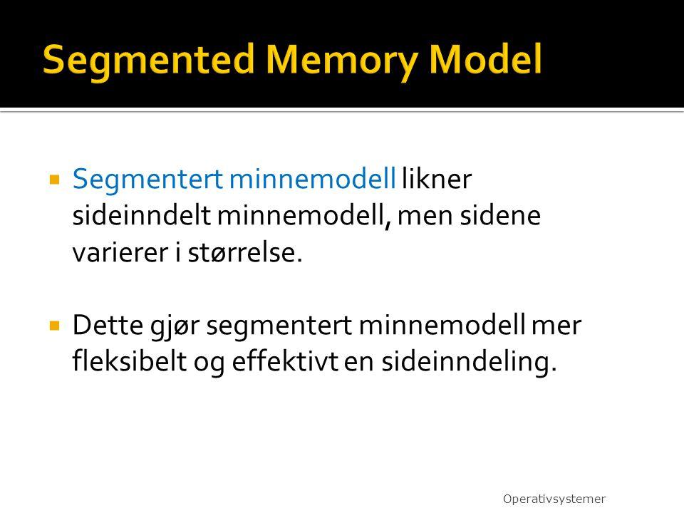  Segmentert minnemodell likner sideinndelt minnemodell, men sidene varierer i størrelse.