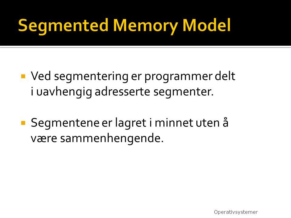  Ved segmentering er programmer delt i uavhengig adresserte segmenter.