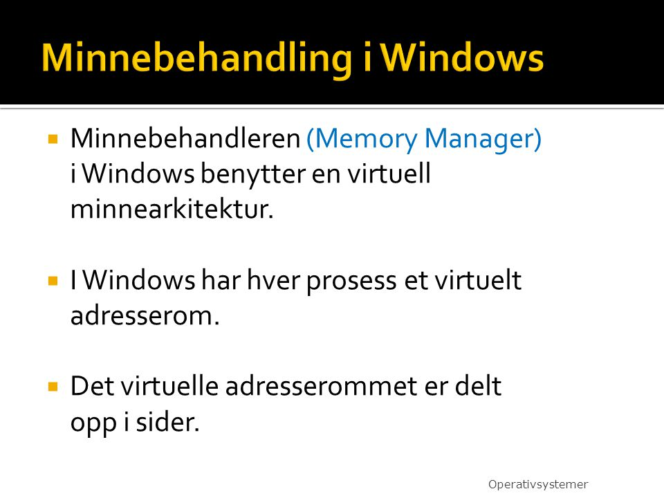  Minnebehandleren (Memory Manager) i Windows benytter en virtuell minnearkitektur.