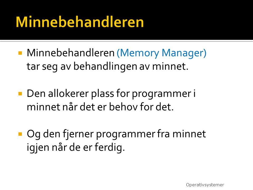  Minnebehandleren (Memory Manager) tar seg av behandlingen av minnet.