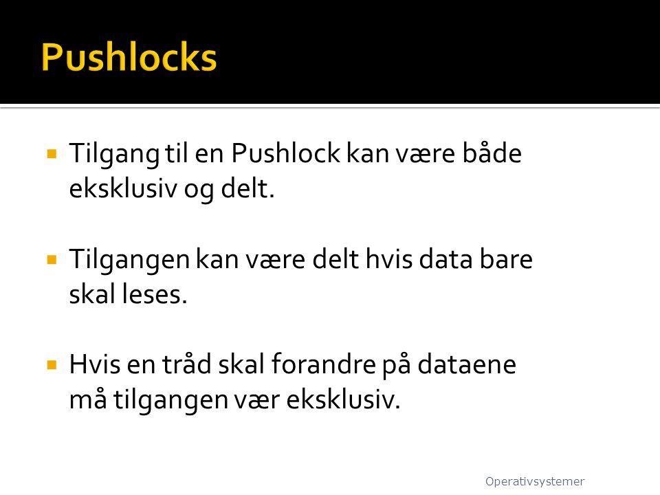  Tilgang til en Pushlock kan være både eksklusiv og delt.