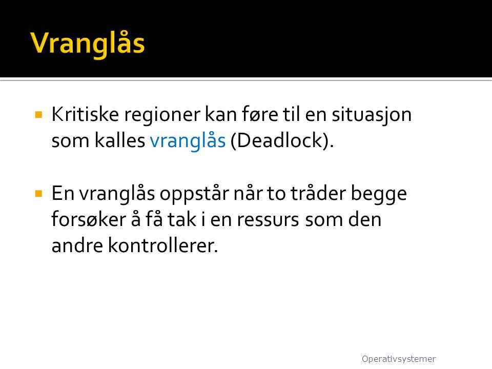  Kritiske regioner kan føre til en situasjon som kalles vranglås (Deadlock).